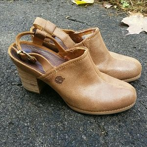 Timberland Brown Suede Heeled Mules
